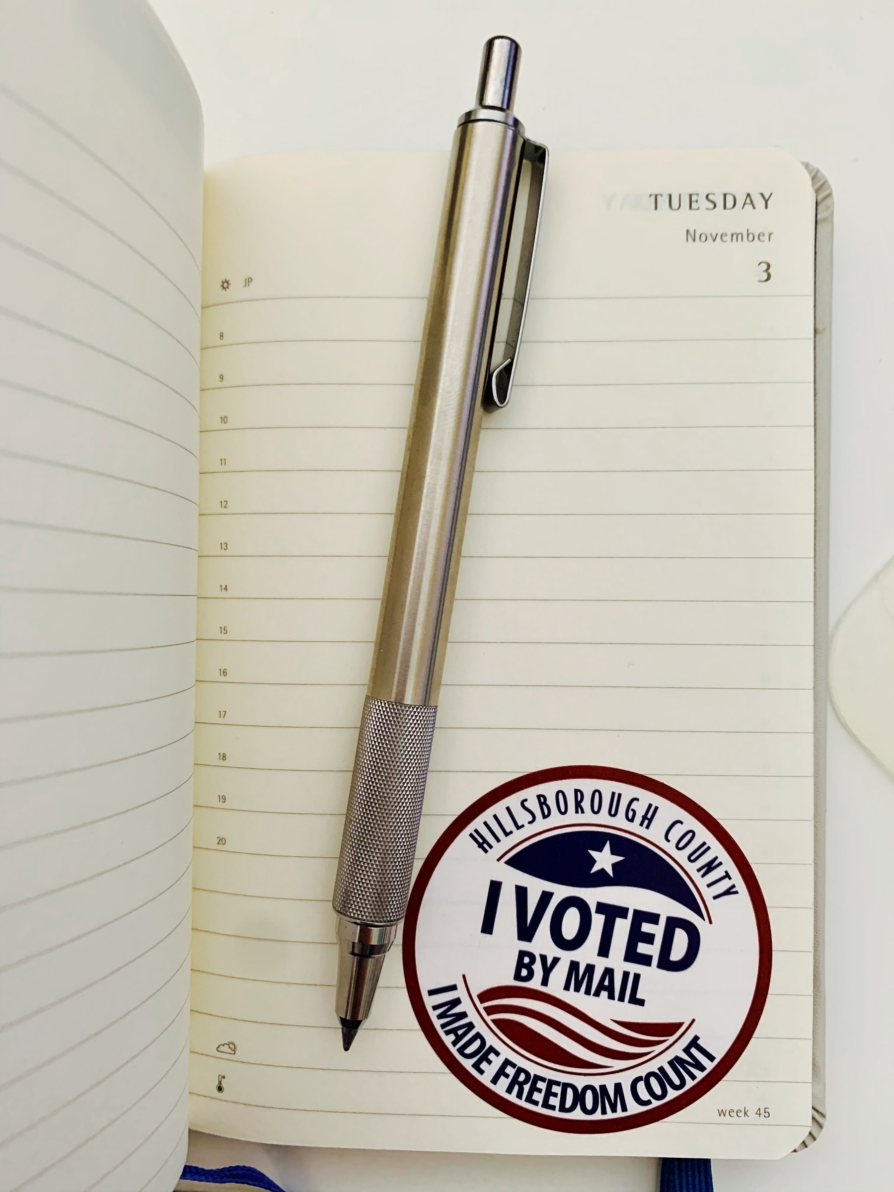 I voted sticker on November 3 journal page